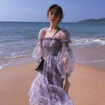 Dress Summer 2021 Purple, blue S,M,L,XL longuette singleton  Long sleeves commute One word collar High waist Broken flowers Socket A-line skirt routine camisole 18-24 years old Type A Korean version printing other