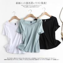 T-shirt White, black, light green S,M,L Summer 2021 Short sleeve V-neck Regular routine commute cotton 86% (inclusive) -95% (inclusive) Solid color Other / other