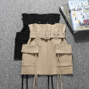 skirt Spring of 2019 S M L XL Black Khaki army green Short skirt commute High waist A-line skirt Solid color Type A 18-24 years old More than 95% other Della do other Korean version Other 100% Pure e-commerce (online only)