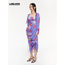 Dress Spring 2021 Purple Pink XS S M L longuette singleton  Long sleeves High waist Decor Socket routine 25-29 years old Labelwood / Leihu printing More than 95% polyester fiber Polyethylene terephthalate (polyester) 100% Same model in shopping mall (sold online and offline)