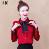 Lace / Chiffon Spring 2021 Red White Navy Black S M L XL 2XL 3XL Long sleeves commute Cardigan singleton  easy Regular Polo collar Solid color shirt sleeve 25-29 years old Gardenia jasminoides XZCXL001429 Korean version 96% and above Other 100% Pure e-commerce (online only)