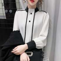 Lace / Chiffon Spring 2021 White yellow black S M L Long sleeves commute Socket singleton  Straight cylinder Regular stand collar Solid color routine 25-29 years old Gardenia jasminoides Korean version 96% and above Other 100% Pure e-commerce (online only)