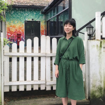 Dress Summer of 2019 green Average size Mid length dress singleton  three quarter sleeve Polo collar High waist Solid color Single breasted A-line skirt routine Type H ASIBANNAC Pocket, lace up, button cotton