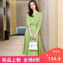 Dress Spring 2020 Green, pink S,M,L,XL,2XL,3XL,4XL Mid length dress singleton  elbow sleeve commute V-neck High waist Solid color Socket A-line skirt routine Others 25-29 years old Type A Other / other Simplicity Pleating XN9951 81% (inclusive) - 90% (inclusive) other other