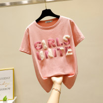 Women's large Summer 2021 White pink L XL S M 2XL T-shirt singleton  commute easy moderate Socket Short sleeve letter Korean version Crew neck routine cotton printing and dyeing routine 25-29 years old Cotton 95% polyurethane elastic fiber (spandex) 5% Pure e-commerce (online only)