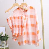 shirt Orange two piece set Average size Spring 2021 cotton 96% and above Long sleeves street Regular square neck Single row multi button routine lattice 25-29 years old Xking / Exxon