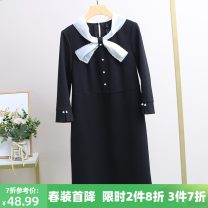 Dress Spring 2021 black M,L,XL,2XL longuette singleton  Long sleeves street other middle-waisted other other One pace skirt routine 25-29 years old Xking / Exxon 51% (inclusive) - 70% (inclusive) other nylon
