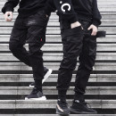 Casual pants Youth fashion black S,M,L,XL routine trousers Other leisure Self cultivation No bullet Four seasons youth tide 2019 middle-waisted Little feet Overalls Pocket decoration No iron treatment Solid color Original designer