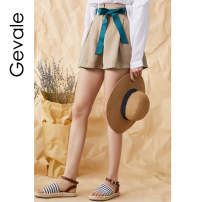 Casual pants S,M,L Summer of 2018 shorts Flared trousers Natural waist Sweet Thin money 18-24 years old 91% (inclusive) - 95% (inclusive) cotton belt cotton Asymmetry Countryside