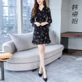 Women's large Autumn of 2019 Black blue S M L XL 2XL 3XL Dress singleton  commute Self cultivation Socket Long sleeves Korean version V-neck Medium length routine 8833--WJ Han Zhuoyi 35-39 years old Medium length Other 100% Pure e-commerce (online only) other