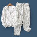 Pajamas / housewear set female Lady Boya S,M,L,XL Beige animal top b-17-14-3, beige animal pants b-17-14-3, beige animal top long b-17-14-3, plaid top long b-17-14-3 other Long sleeves Cartoon Leisure home autumn Big lapel Cartoon animation trousers Socket youth Tether printing