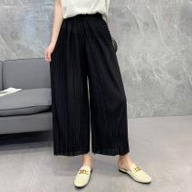 Casual pants Wide leg pants Natural waist 13165 Summer 2020 Ninth pants Thin Versatile Queen Boya 3XL Black c-1-16-1, Navy c-1-16-1, purple c-1-16-1