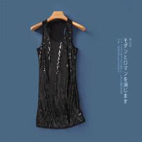 Vest sling Summer 2020 Black plus Black Sequin b-2-29-4, black plus gray Sequin b-2-29-4 S,M,L singleton  Medium length Self cultivation Versatile Solid color Lady Boya Sequins