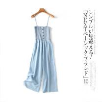 Casual pants Light blue c-4-6-1, bean green c-4-6-1, khaki c-4-6-1, orange c-4-6-1, light blue short c-4-6-1, bean green short c-4-6-1 S,M,L Summer 2021 trousers High waist Versatile 96% and above Lady Boya other