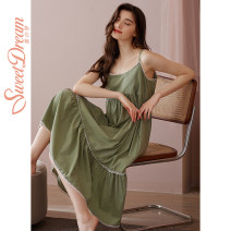 Nightdress Sweet dream green 155(S),160(M),165(L),170(XL) Sweet camisole Leisure home Middle-skirt summer Solid color youth viscose  lace 41% (inclusive) - 60% (inclusive) Woven cotton fabric