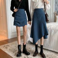 skirt Spring 2021 S,M,L,XL,2XL Black [short], blue [short], black [long], blue [long] Mid length dress High waist skirt Solid color