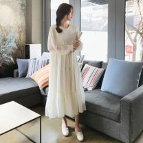 Dress Spring 2020 milky white S,M,L,XL Mid length dress singleton  Long sleeves commute Crew neck Loose waist Solid color Socket Big swing puff sleeve Others 18-24 years old Korean version Ruffles, folds Chiffon