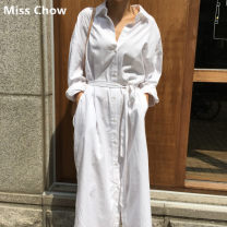 shirt white S,M,L,XL Spring of 2019 cotton 81% (inclusive) - 90% (inclusive) Long sleeves commute Medium length Polo collar Single row multi button shirt sleeve Solid color 25-29 years old Straight cylinder Other / other Korean version Lace up, stitching, pocket, bandage