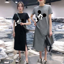 Women's large Summer 2020 Grey black M L XL XXL 3XL Dress singleton  commute easy moderate Socket Short sleeve Cartoon animation Korean version Crew neck Medium length printing and dyeing routine Z809 Zulucat / Zulu cat 18-24 years old Polyester 95% polyurethane elastic fiber (spandex) 5%