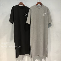 Women's large Summer 2021 Black white grey M L XL XXL Dress singleton  commute easy moderate Socket Short sleeve Cartoon letters Korean version Crew neck cotton printing and dyeing routine Z2404 Zulucat / Zulu cat 18-24 years old longuette Pure e-commerce (online only)