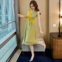Dress Summer of 2019 Picture color S M L XL Mid length dress singleton  Sleeveless commute V-neck High waist Solid color Socket A-line skirt Others 25-29 years old Happy Yuanfeng Korean version Lace up color block More than 95% other Other 100% Pure e-commerce (online only)