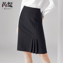 skirt Autumn of 2019 S M L XL XXL Black Khaki Middle-skirt commute High waist skirt other Type H 25-29 years old RT9011198 More than 95% Ruiti (costume) polyester fiber Ol style Polyester 100% Pure e-commerce (online only)