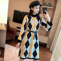 Women's large Winter 2020 yellow L XL S M singleton  commute Long sleeves lattice Korean version High collar other Sabado 18-24 years old 96% and above Medium length Triacetate fiber (triacetate fiber) 100% Pure e-commerce (online only)