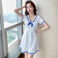 Dress Summer 2021 White black S M L XL Short skirt singleton  Short sleeve commute Admiral High waist Solid color Socket A-line skirt routine Others 18-24 years old Type A Ruo Manqi Korean version bow RRXC2479# More than 95% brocade polyester fiber Other polyester 95% 5% Pure e-commerce (online only)