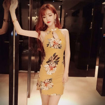 Dress Spring of 2019 Short skirt singleton  Sleeveless Sweet stand collar High waist Decor Socket One pace skirt routine Hanging neck style 18-24 years old Type X Ruo Manqi Hollow out printing 51% (inclusive) - 70% (inclusive) brocade cotton Cotton 65% polyester 35% solar system