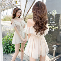 Dress Summer of 2019 S M L XL Short skirt singleton  Short sleeve Sweet One word collar High waist Solid color Socket A-line skirt Lotus leaf sleeve camisole 18-24 years old Type A Ruo Manqi Bow and ruffle strap More than 95% Chiffon polyester fiber Other polyester 95% 5% college