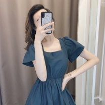 Lace / Chiffon Summer 2020 Picture color S M L XL Short sleeve commute Socket singleton  Self cultivation Medium length square neck Solid color puff sleeve 25-29 years old The empress of Xuan Korean version 96% and above Other 100% Pure e-commerce (online only) polyester fiber