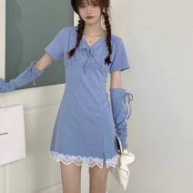 Dress Summer 2021 blue S M Short skirt singleton  Short sleeve commute V-neck High waist Solid color Socket A-line skirt routine Others 18-24 years old Type A Uniday Korean version Splicing 71% (inclusive) - 80% (inclusive) other polyester fiber Polyester 75% cotton 25% Pure e-commerce (online only)