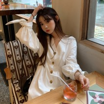 Dress Spring of 2019 white Average size Middle-skirt singleton  Long sleeves commute V-neck middle-waisted Solid color Single breasted One pace skirt bishop sleeve Others 18-24 years old Type A Uniday Korean version 8383# More than 95% brocade polyester fiber 100.00% polyester