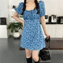 Dress Summer 2021 blue Average size Short skirt singleton  Short sleeve commute One word collar High waist Broken flowers Socket A-line skirt puff sleeve Others 18-24 years old Type A Uniday Korean version bow 81% (inclusive) - 90% (inclusive) other polyester fiber Pure e-commerce (online only)