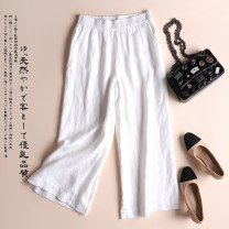 Casual pants Black white Khaki Brown Average size Summer 2020 Ninth pants Wide leg pants High waist original routine 96% and above Mill 88506 Capris Lekia hemp pocket Flax 100% Pure e-commerce (online only)