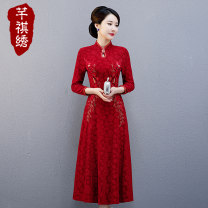 cheongsam Autumn of 2019 L XL XXL 3XL 4XL 5XL M Crimson dark red crimson short sleeve Long sleeves long cheongsam ethnic style No slits wedding woman's dress buttoned down from right armpit Decor Over 35 years old Embroidery Qianqi embroidery nylon Pure e-commerce (online only)