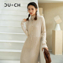 Dress Winter 2020 Beige S M L longuette singleton  Long sleeves commute Crew neck Solid color Socket Pleated skirt routine 25-29 years old CU+CH Simplicity Button CB235406G 51% (inclusive) - 70% (inclusive) knitting nylon Polyamide 66.4% wool 33.6%