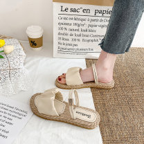 Sandals 35 36 37 38 39 40 PU Shuxi Barefoot Flat bottom Low heel (1-3cm) Summer 2021 Trochanter Korean version Solid color Adhesive shoes Youth (18-40 years old) rubber daily Front and rear trip strap Ribbon Roman style Low Gang Hollow PU cloth Roman shoes Shaving Pure e-commerce (online only)