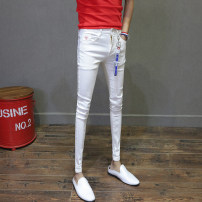Jeans Youth fashion Others 27,28,29,30,31,32,33,34,36 white routine Micro bomb Regular denim Ninth pants Other leisure Four seasons youth Medium low back Slim feet tide 2019 Pencil pants zipper Water wash, stone wash / stone mill Embroidery Edge grinding and water washing cotton