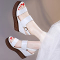 Sandals three hundred and forty-three billion five hundred and thirty-six million three hundred and seventy-three thousand eight hundred and thirty-nine 6255 white 6255 Brown Love birds PU Barefoot Slope heel Super high heel (over 8cm) Summer of 2018 Flat buckle Korean version Solid color daily PU PU