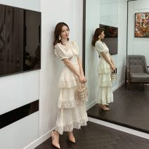Dress Spring 2021 Off white Xs, s, m, l, no reason for return and exchange in seven days longuette singleton  Short sleeve commute Crew neck High waist Solid color Socket Pleated skirt routine Others 25-29 years old Type A Xueyuan style Retro ss20-012m 51% (inclusive) - 70% (inclusive) Lace