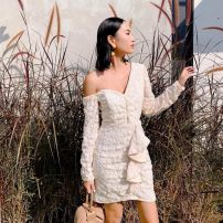 Dress Spring 2021 Black, off white Xs, s, m, l, no reason for return and exchange in seven days Short skirt singleton  Long sleeves street Slant collar High waist Solid color zipper One pace skirt routine Others 25-29 years old Type H Xueyuan style sp20-011 51% (inclusive) - 70% (inclusive) other
