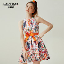 Dress Summer 2020 orange S M L XL Short skirt singleton  Sleeveless commute Crew neck High waist Abstract pattern zipper A-line skirt other Hanging neck style 18-24 years old Type A Loripa Bandage printing More than 95% polyester fiber Polyester 100%