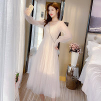 Dress Winter of 2019 Pink apricot S M L Mid length dress Two piece set Long sleeves commute V-neck middle-waisted Solid color zipper A-line skirt 18-24 years old Jonana Retro Sequin gauze KHEX04292 More than 95% other Other 100% Pure e-commerce (online only)