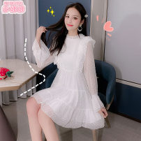 Dress Autumn 2020 white S M L XL Middle-skirt singleton  Long sleeves Sweet Crew neck middle-waisted Solid color other Princess Dress Princess sleeve Others 18-24 years old Type A Jonana Gouhua hollow More than 95% Chiffon other Other 100% solar system Pure e-commerce (online only)
