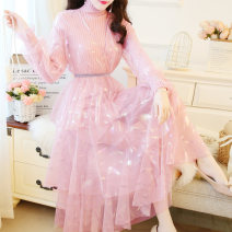 Dress Winter of 2019 Off white pink M L XL Mid length dress Two piece set Long sleeves Sweet stand collar High waist Decor Socket A-line skirt routine Others 18-24 years old Type A Jonana Splicing mesh PJFG74297 More than 95% other Other 100% Ruili Pure e-commerce (online only)