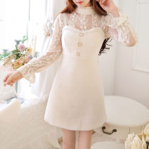 Dress Winter of 2019 White two piece set, pink two piece set S M L Mid length dress Two piece set Long sleeves Sweet Lotus leaf collar High waist Solid color Socket Princess Dress pagoda sleeve Others 18-24 years old Type A Jonana DINZ32263 More than 95% other other Other 100% princess