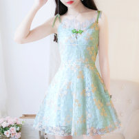 Dress Summer of 2019 Green short S M L Short skirt singleton  Sleeveless Sweet Crew neck High waist Decor zipper A-line skirt other camisole 18-24 years old Type A Jonana bow More than 95% organza  other Other 100% Mori Pure e-commerce (online only)