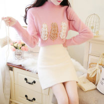 Fashion suit Autumn of 2019 S M L Apricot sweater + apricot Skirt Pink Sweater + apricot skirt white sweater + pink skirt single shot pink sweater single shot white sweater single shot apricot sweater single shot apricot skirt single shot pink skirt 18-25 years old Jonana JDRW85339 Other 100%