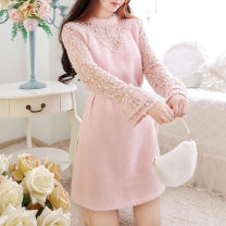 Dress Winter of 2019 S M L longuette Fake two pieces Long sleeves Sweet Lotus leaf collar High waist Solid color Socket Princess Dress pagoda sleeve Others 18-24 years old Type A Jonana More than 95% other other Other 100% princess Pure e-commerce (online only)